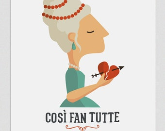 Illustration, Print, Così fan tutte, Tutticonfetti, Wall art, Decor, Hanging wall, Printed art, Decor home, Gift idea, Sweet home, singer.