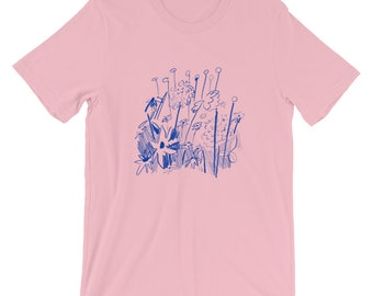 Blue Floral Sketch Tee by Haley Tippmann