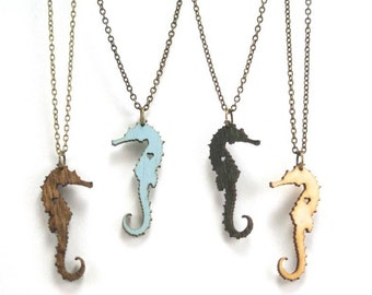 Seahorse Necklace - Handmade - Laser Cut - Laser Cut Jewelry