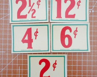 Vintage Store Price Tags set of 5  Lot 11