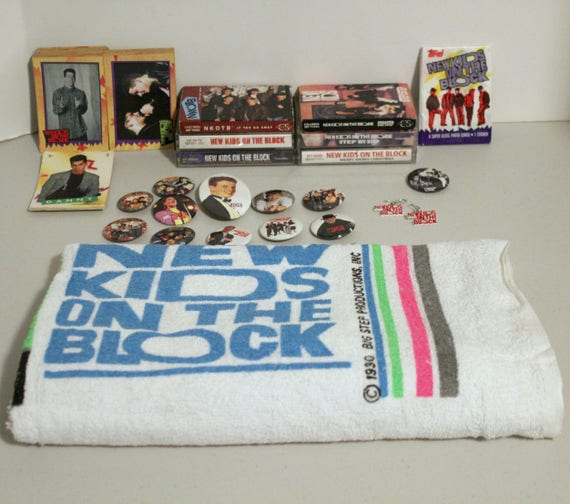 NKOTB Towel, Red Earrings, 6 Cassette Tapes, Topps Cards, Pins, Stickers, Magnet, 1990s New Kids On The Block Boy Band