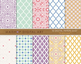 Digital Paper 'Arabesque' Lilac, Mint, Red, Blue, Yellow... Moroccan Tiles and Mosaics Patterns for Scrapbook, Card Making, Invitations...