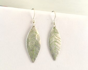 Handmade Etched Leaf Upcycled Dangle Earrings