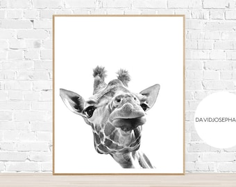 Giraffe Print, African Animal Print, Nursery Decor, Home Decor, Modern Wall Art, Minimalist Poster, Black and White, Digital Download