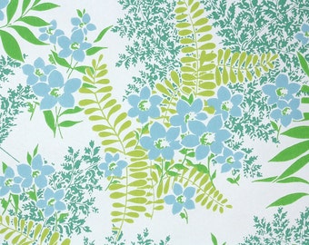 Retro Wallpaper by the Yard 70s Vintage Wallpaper - 1970s Blue Flowers and Green Ferns