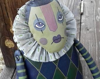 Vintage Art Doll Painted Folk Clown Arlecchino