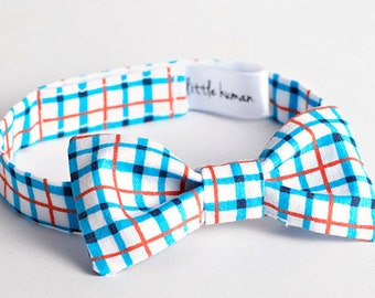 Plaid Bow Tie - Blue, Red Orange & White Cotton Plaid, Boy's Bow Tie, Birthday Bow Tie, Baby Bow Tie, Baby Boy Holiday Bowtie