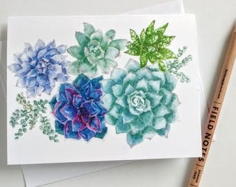 Succulent Garden Card, 4 x 5.5 Inch Blank Card with White Envelope, Green Flowers Note Cards, Greeting Card, Watercolor Art Card, Stationery