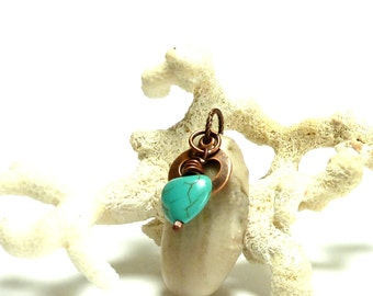 MOM'S HEART Drilled Beach Stone and Turquoise Love Beach Pebble River Rock Charm Cutout Copper White Fossil Pendant Natural Stone