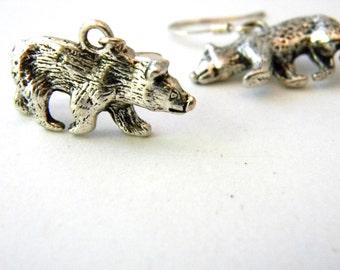 Bear Earrings Silver Color Three Dimensional Dangle Earrings