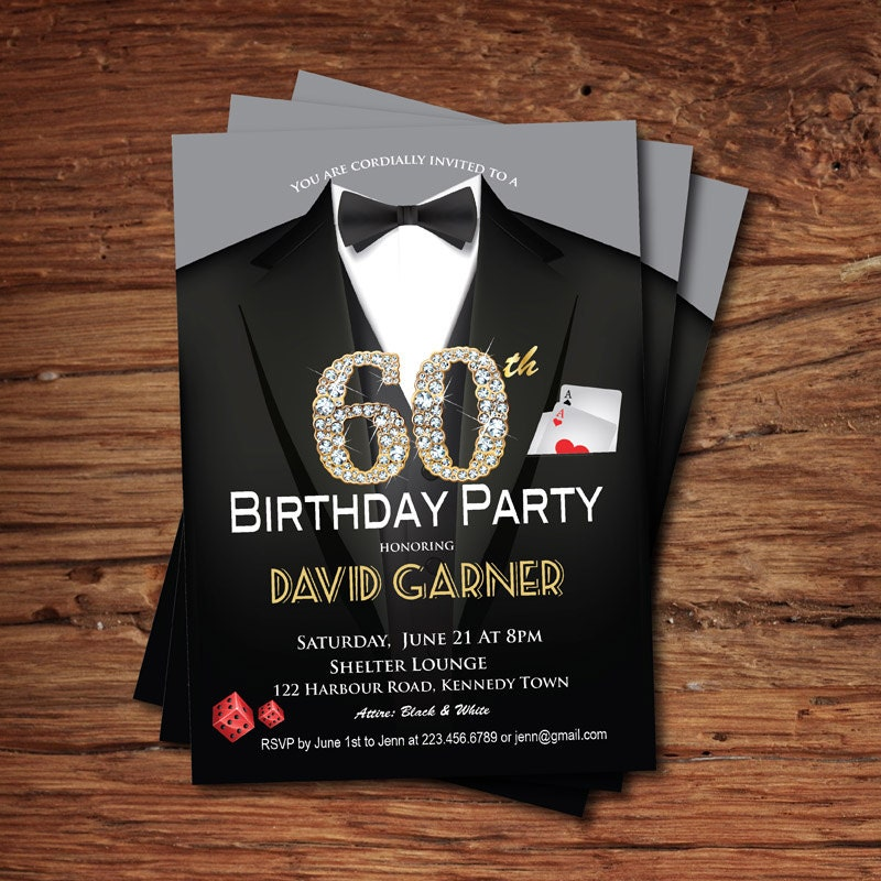 Casino 60th birthday invitation. Adult man birthday party