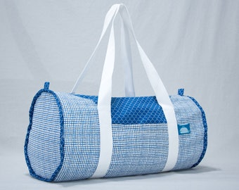 """""""Calf"""" - blue scales & blue Plaid duffel bag"""