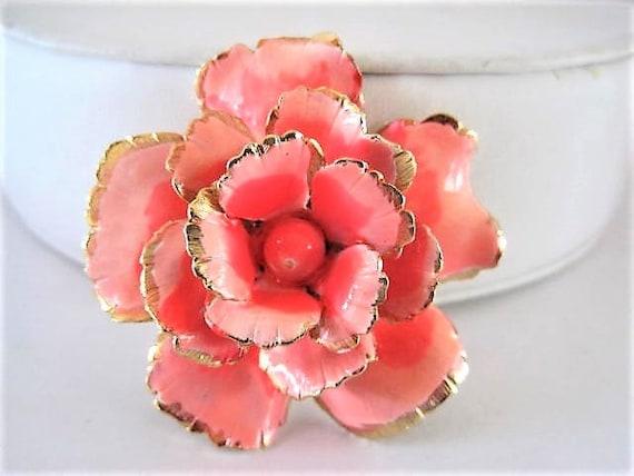 Flower Enamel Brooch, Signed Giovanni, Coral Petals, Gold Edge Flower, Bead Center, Flower  Pin
