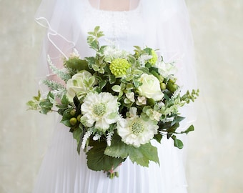 Greenery Wedding Bouquet, Green Bridal Bouquet, Mint Bouquet, Silk Flower Bouquet, Green Bouquet, Wedding Flowers, Wildflower Bouquet