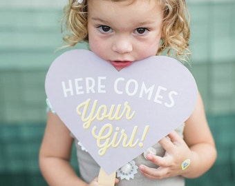 Here Comes Your Girl - Heart Photo Prop - Customizable - Flower Girl
