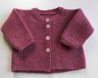 Jacket-Cardigan wool Bbmerinos pink or blue, long sleeves baby boy or girl, size 3-6-12-18 months (made to order)