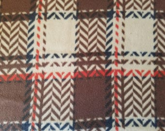 Brown Plaid Fleece Fabric (27 inches)
