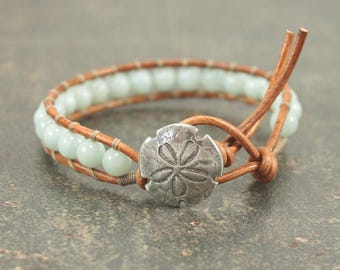 Sand Dollar Jewelry Silver and Turquoise Sand Dollar Bracelet Gemstone and Leather Wrap Bracelet Amazonite Bracelet