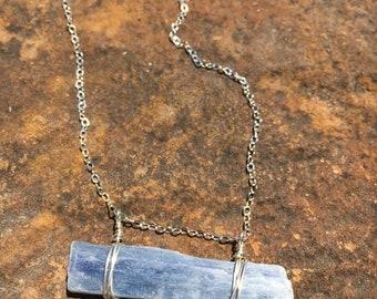 Raw blue kyanite gemstone bar necklace
