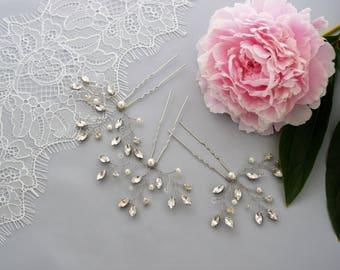 Bridal Hair Pins, Rhinestone Hair Piece, Wedding Headpiece, Bridal Fascinator, Pearl Hair Pins, Bridal Hair Jewelry, Rose Gold Hair Pins
