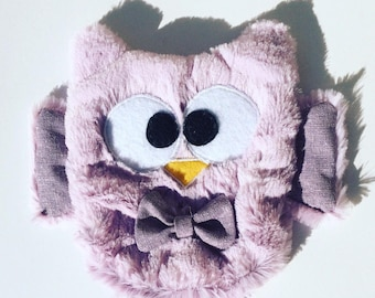 Purple OWL minky soft baby blanket.