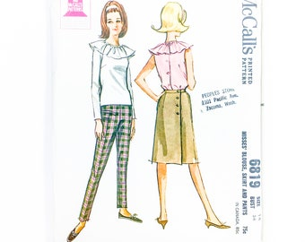 60s Outfit Pattern | McCalls 6819 Blouse Skirt & Pants Pattern | 60s Sewing Pattern