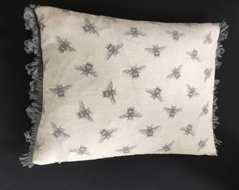 A 30x 40cm pillow cover cushion case sham slip pillow case,  grey bees, grey striped back, grey fan edge trim