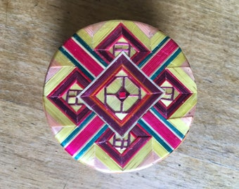 Vintage trinket box, ring box, jewellery box, asian jewellery box, round, rainbow, multicolour, daughter, wife, sister, mother gift, modfoll