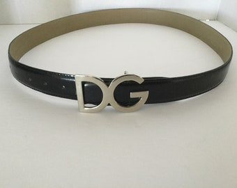 Initials D G  Designer look Italian black leather belt for male or female