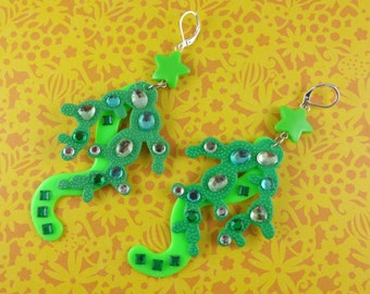Big Crazy Green Earrings - dangly earrings made with repurposed toys, sparkly rhinestones and star beads - fun bold large statement earrings