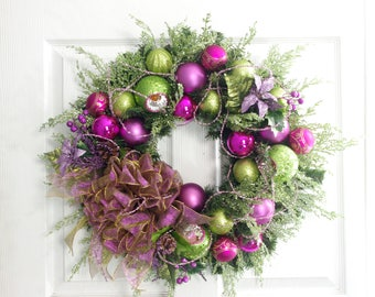 Christmas Wreath, Purple and Green Wreath, Christmas Decoration, Holiday Wreath, Holiday Decor, Front Door Wreath, Traditional Wreath