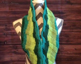Crocheted textured green infinity scarf/cowl