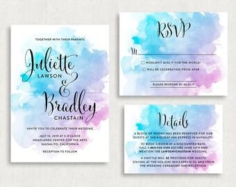Wedding Invitation and RSVP Card (Splatter) - Digital File, PDF, DIY, Printable, Calligraphy, Script, Black, Purple, Blue, Watercolors, Art
