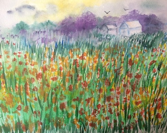 The Field - Watercolor Painting PRINT - by Mary Cogley -2018