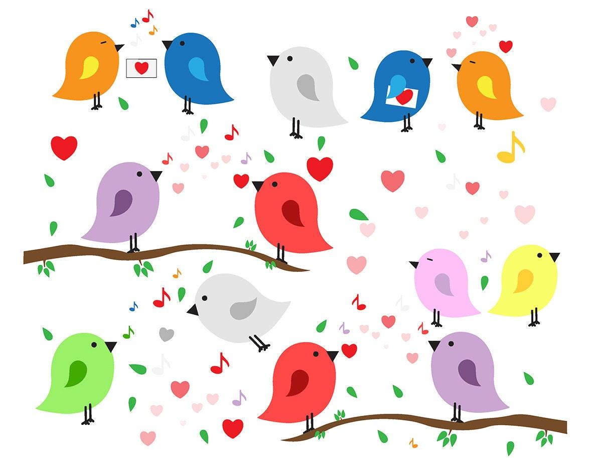 SALE Bird CLIPART Set. Love Birds Clip Art Set. Birds Party