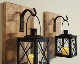 Walll Lantern Pair with wrought iron hooks, rustic wood boards, rustic home decor, wall decor, bedroom decor, sconces