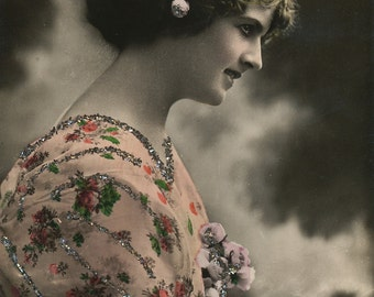 Hand colored photo postcard of pretty girl