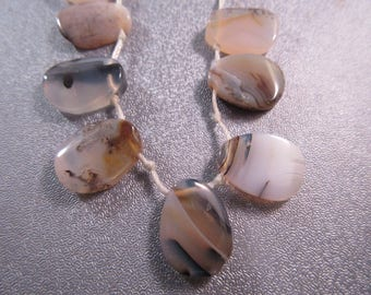 Montana Moss Agate Beads Top Drilled Drops 12pcs