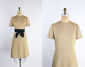 60s Polka Dot Dress / Mini Dress / 1960s Dress / Tan and White Dress / Mod / Size S/M