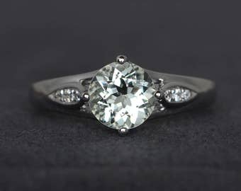 round cut green amethyst engagement ring gemstone ring sterling silver
