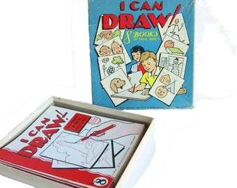 Vintage Books I CAN DRAW 8 Book Box Set from 1953 by George Carlson 1950s Kids Books Drawing Books Art Books Learn to Draw