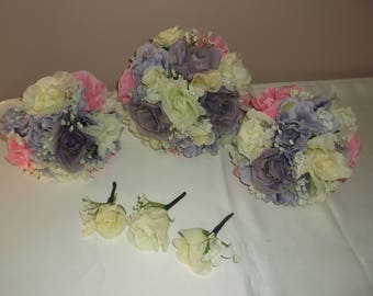 Pre Made Lilac/Pink/Ivory Wedding Bouquets
