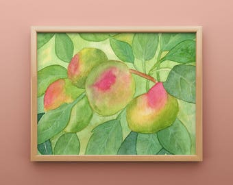 Apples in a Tree Watercolor Print