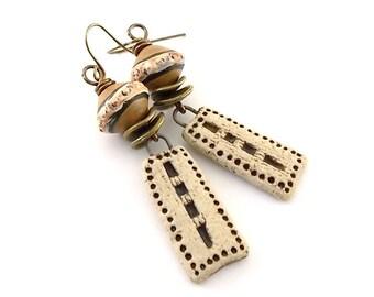 Handmade Earrings, Ceramic Earrings, Gold and Brown Rustic, Wire Earrings, Boho Earrings, Artisan Earrings, Long Earrings, Stoneware, AE183