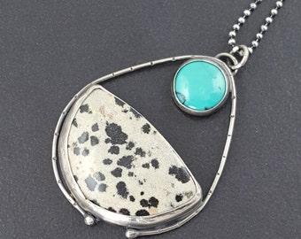 ON SALE---Dalmatian Jasper and Turquoise Pendant, black white blue, boho pendant, turquoise, dalmatian jasper, sterling silver, bohemian