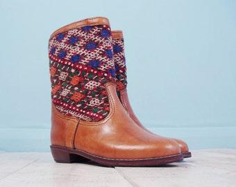Suraya leather Navajo boots - brown leather Navajo ethnic tribal aztec carpet kilim boots size UK 6 US 8 EU 39