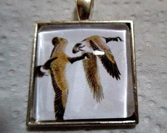 Canadian Geese Pendant or Scarf Slide, scarf jewelry, scarf ring
