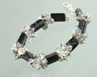 black tourmaline - rutilated quartz - pyrite - labradorite - crystal quartz - sterling silver contemporary bracelet