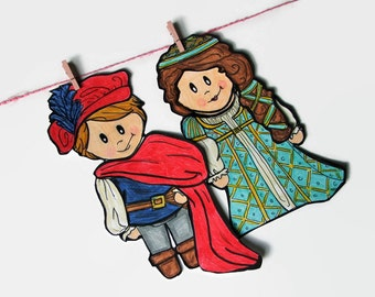 Romeo and Juliet, Shakespeare gifts, Best Friend Present, Fun Refrigerator Magnets, Miniature Dolls