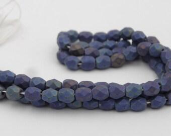 Glass 4mm Fire Polished Matte Blue Iris  50 Pieces